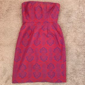 J. Crew strapless red and purple damask dress